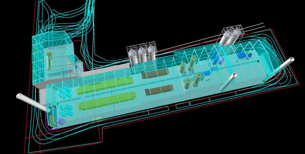 3D Modell der Klärschlamm-Bearbeitungsanlage